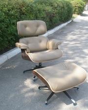 Кресло с оттоманкой Релакс,  кожаное,  цвет оливковый