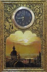 Авторские работы Часы с пейзажем «Золотые дали»